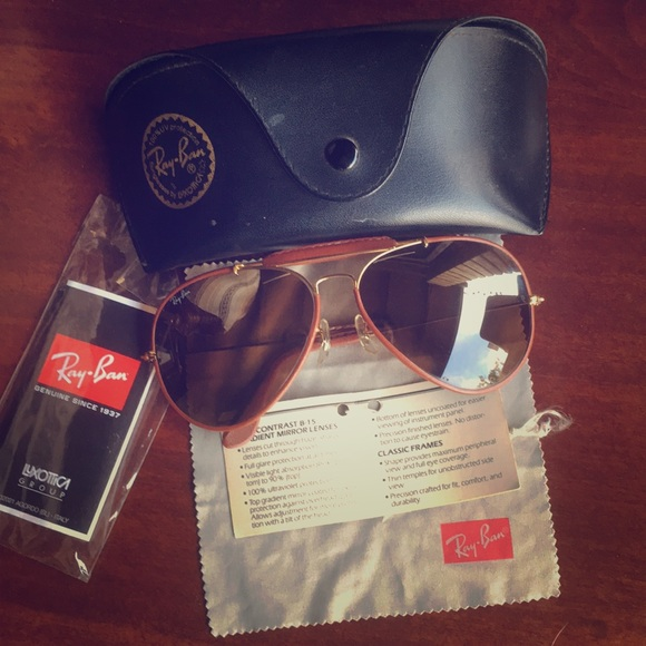 8261233c3b Vintage Aviator leather Ray Bans